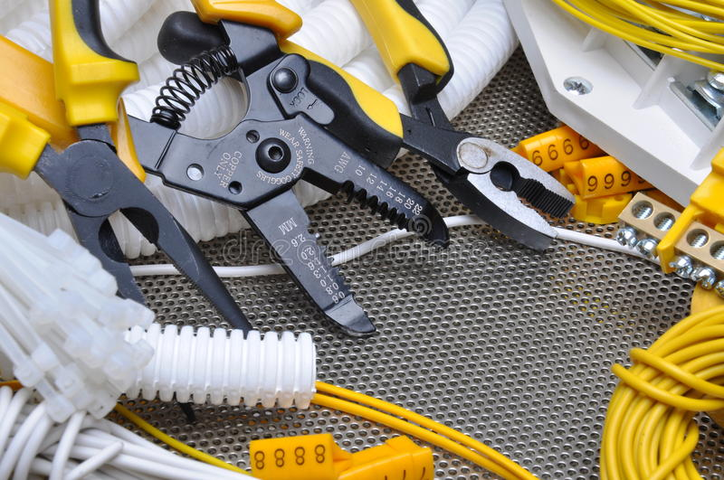 Tools for electrical installation. Tools and component for electrical installation stock photo