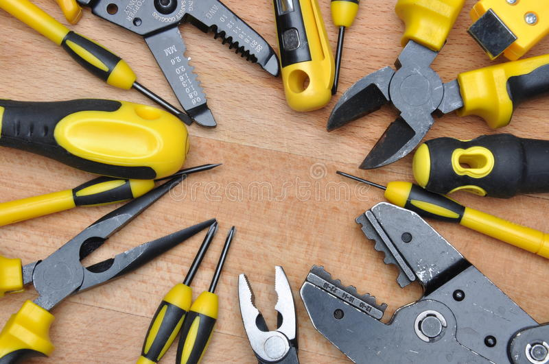 Tools for electrical installation royalty free stock photography
