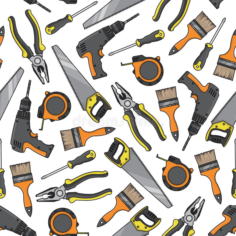 Electrical Layout Tools : Tools and equipment seamless pattern stock vector
