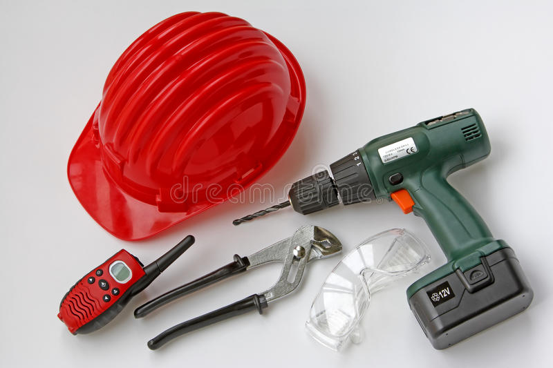 Tools with safety helmet and equipment for work sites royalty free stock image