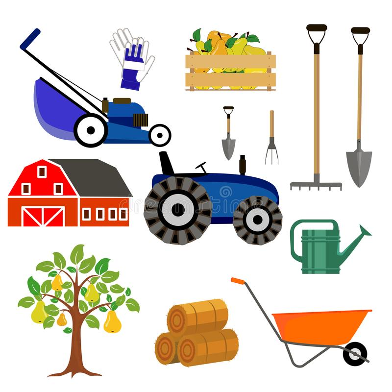 Tools for the farm. Shovel, tractor, lawn mower, shed. Vector royalty free illustration
