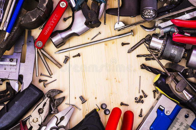 Tools in the form of a frame stock image