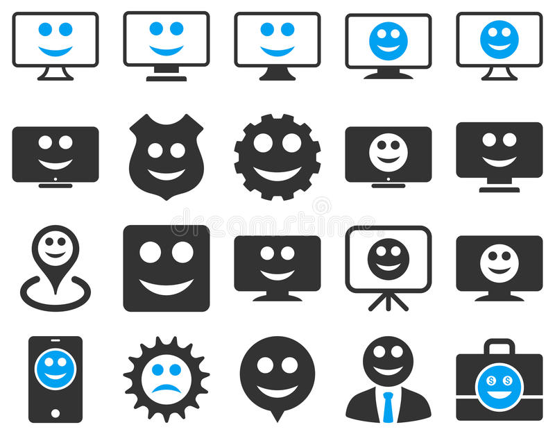 Tools, gears, smiles, icons royalty free illustration