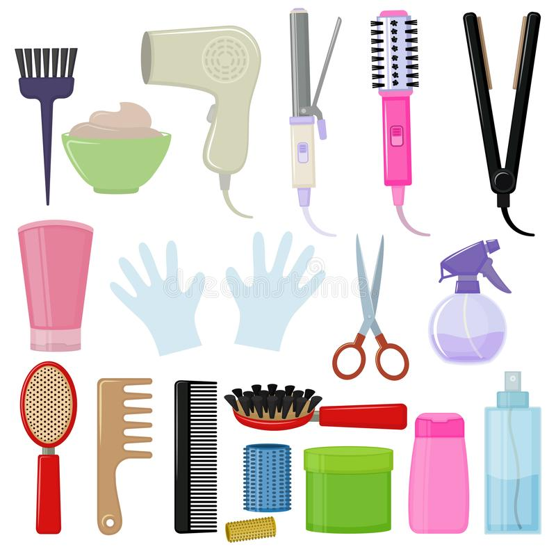 Tools and hair care products. Set of colorful equipments for styling and hair care. Products and tools for home remedies of hair care. Vector