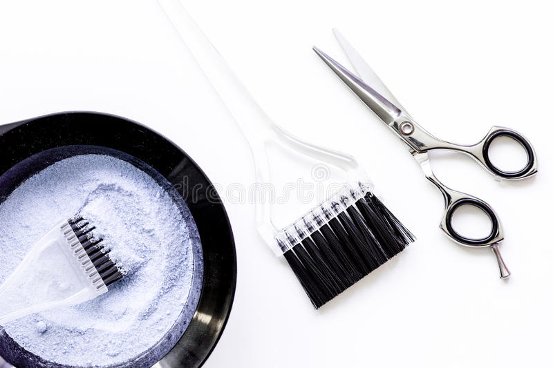 Tools For Hair Dye And Hairdye Top View White Background Stock Image ...