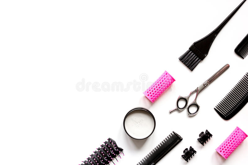 Tools for hair styling on white background top view.  royalty free stock photography