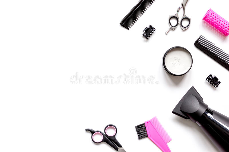 Tools for hair styling on white background top view.  stock photography