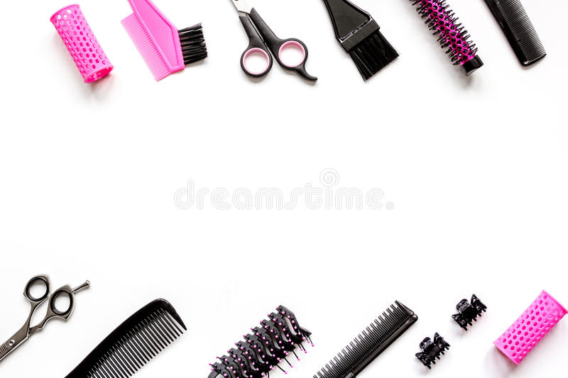 Tools for hair styling on white background top view.  stock image