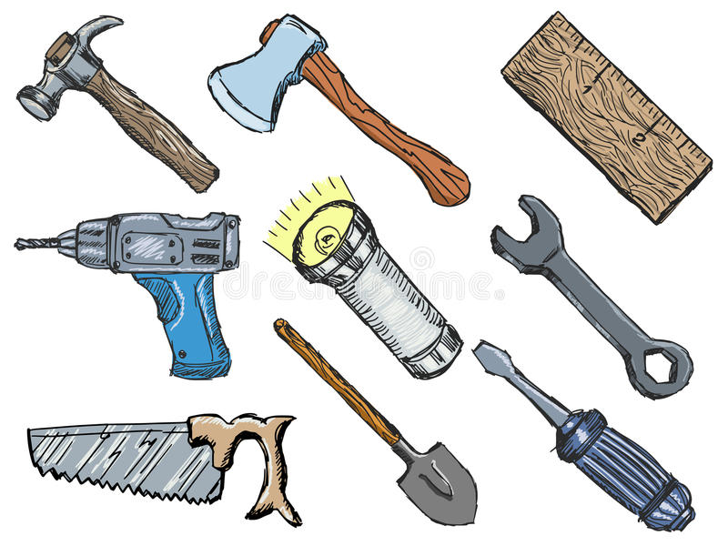 Tools. Hand drawn, doodle, sketch illustrations of tools vector illustration