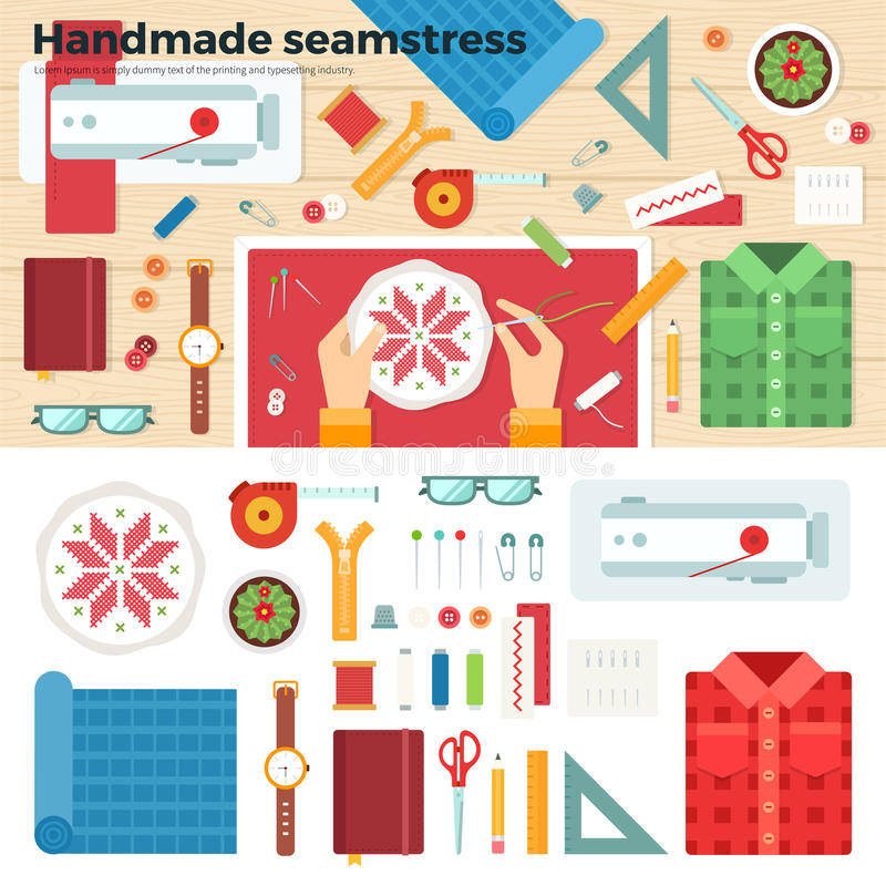 Tools for Handmade. Seamstress. Hobby Concept. Workplace seamstress. Table with tools for needlework and working hands with embroidery. Top view. For website royalty free illustration