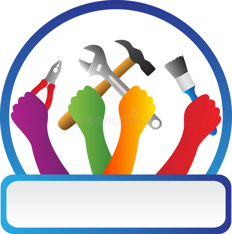 Tools with hands. A vector drawing represents tools with hands design stock illustration