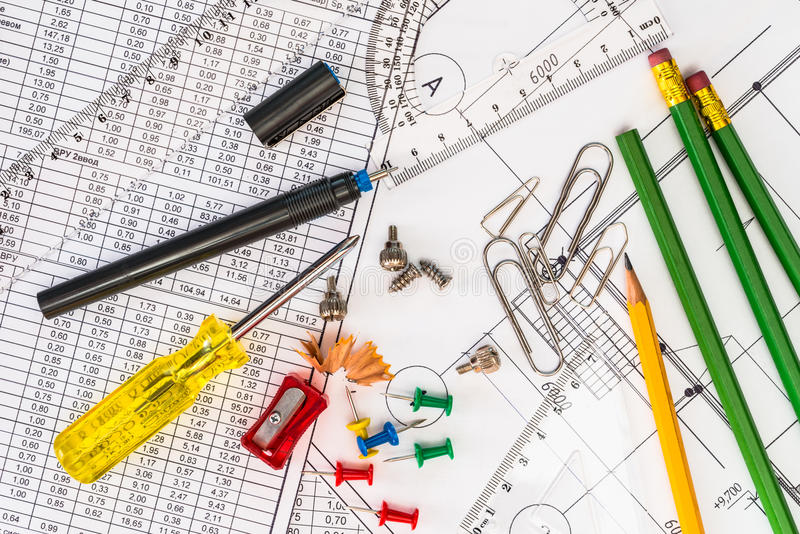 Tools for home repair, a drawings and a diagrams stock image