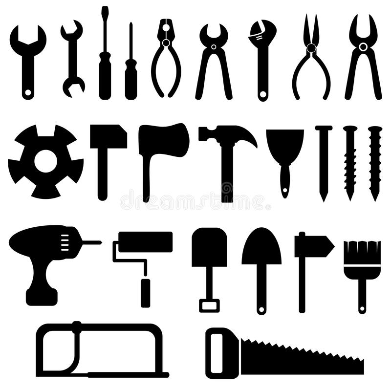 Download Tools icon set stock vector. Illustration of black, isolated - 26139476