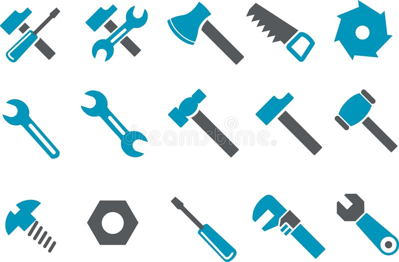 Download Tools icon set stock vector. Image of spanner, monkey - 8527903