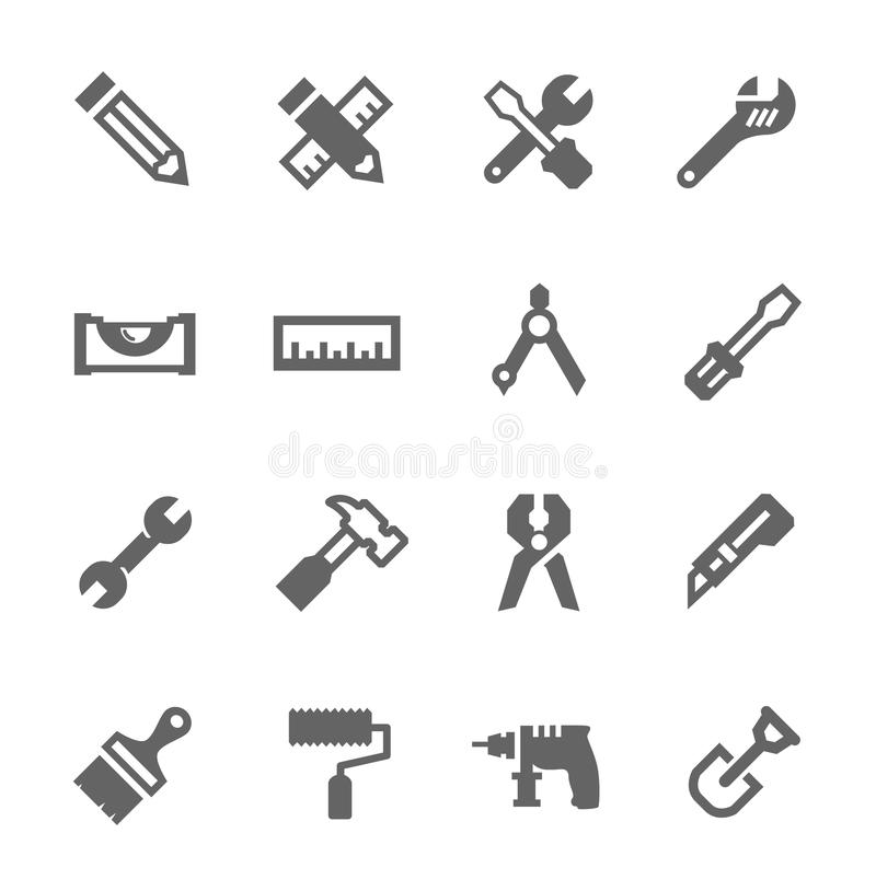 Tools icon set. Simple icons related to tools vector illustration