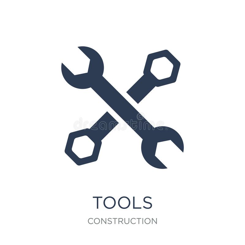 Tools icon. Trendy flat vector Tools icon on white background fr. Om Construction collection, vector illustration can be use for web and mobile, eps10 royalty free illustration