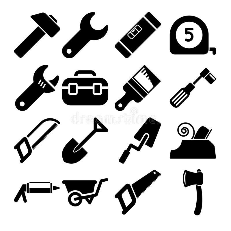 Download Tools Icons stock vector. Image of trowel, measurement - 34074160