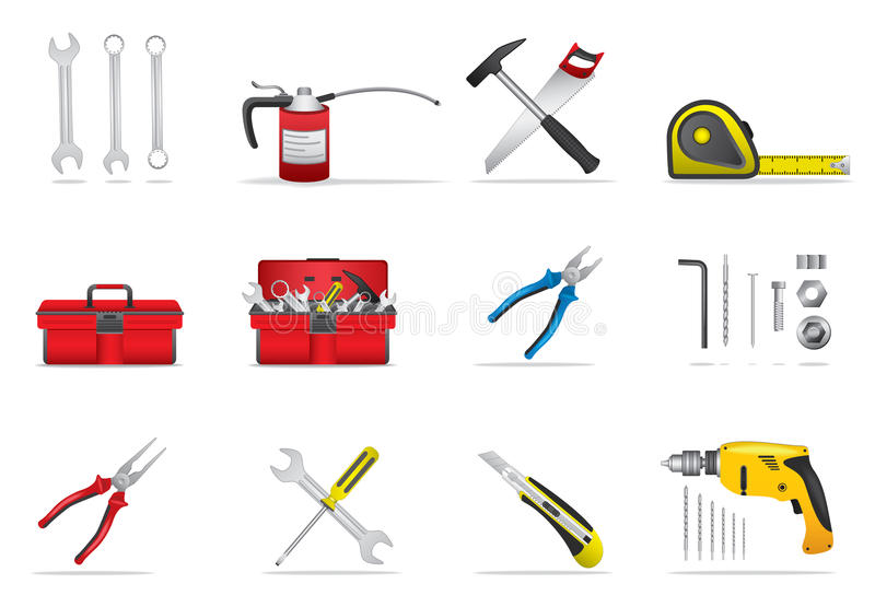 Download Tools Icons Set stock vector. Image of steel, equipment - 34861273