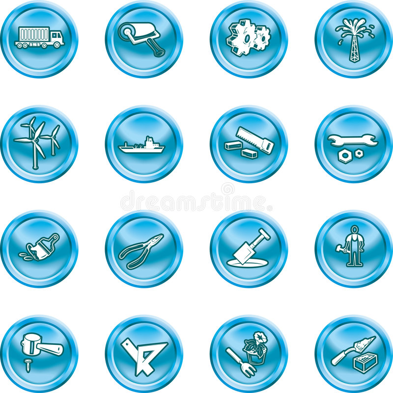 Tools and industry icon set. A series of icons relating to tools and industry. No meshes used vector illustration