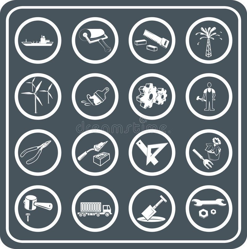 Tools and industry icons royalty free illustration