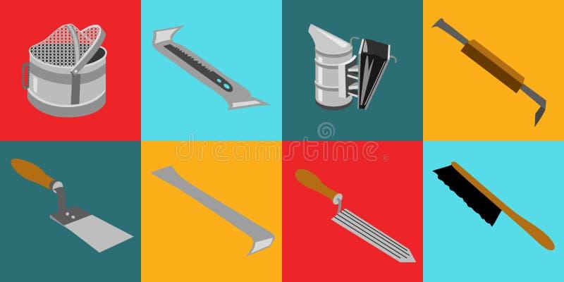 Tools infocraphics. Vector tool kit of the beekeeper. Flat infographics stock illustration