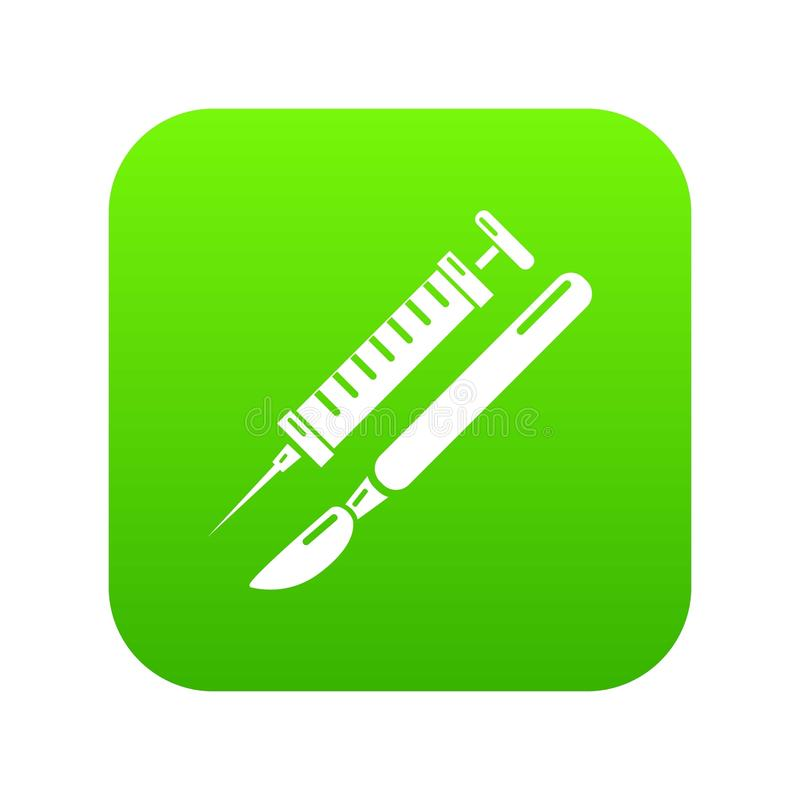 Tools injection icon green vector. Isolated on white background vector illustration