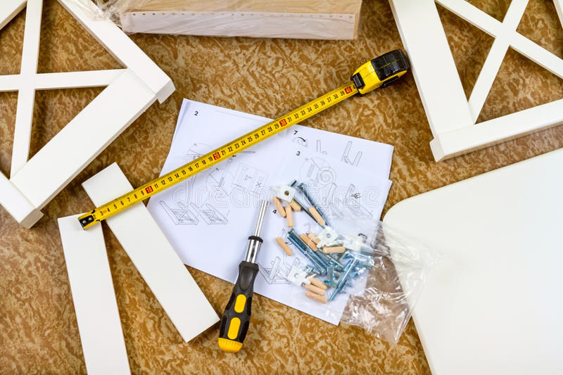 Tools, instructions and details for assembly furniture. Tools, instructions and details for self assembly furniture royalty free stock photography