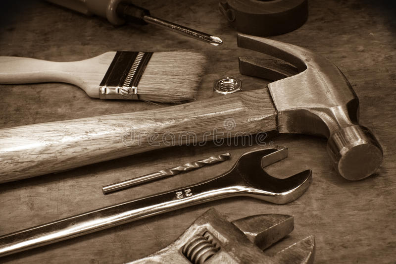 Tools and instruments on wood board stock photos
