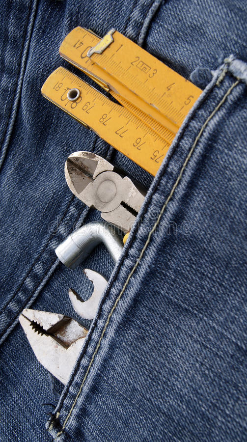 Download Tools and jeans pocket stock photo. Image of repairing - 27530484