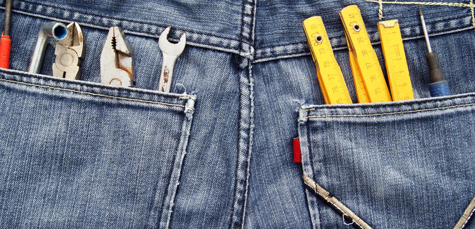 Download Tools and jeans pocket stock image. Image of modern, manual - 27530675