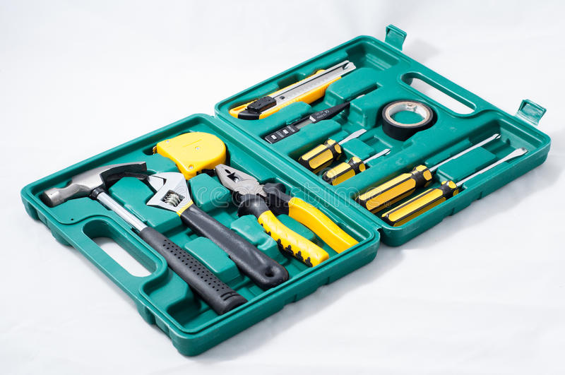 Tools kit. A variety of tools in box royalty free stock photography