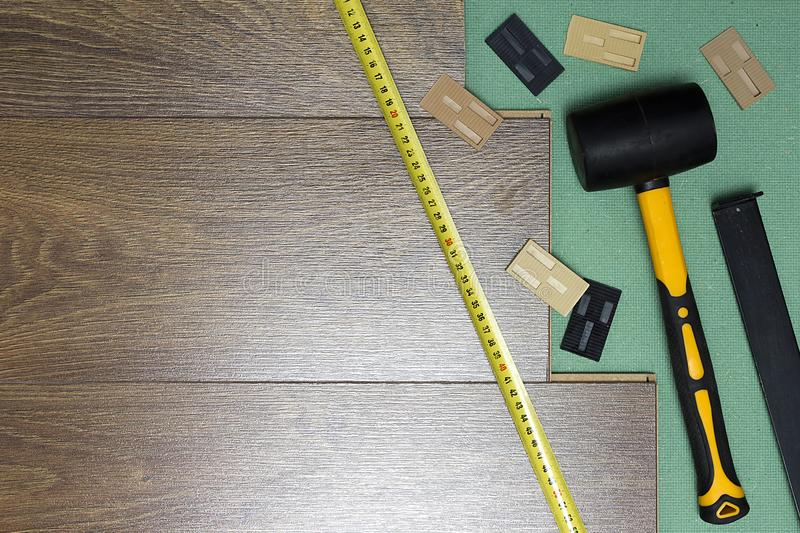 Tools for laying laminate royalty free stock photography