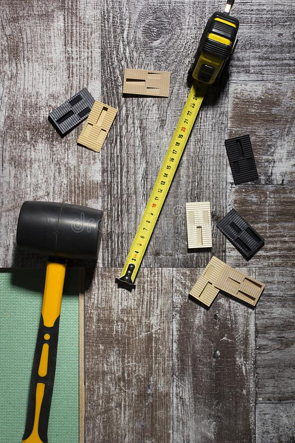 Tools for laying laminate royalty free stock photos
