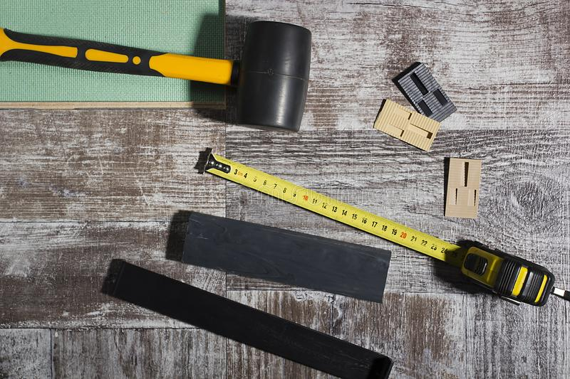 Tools for laying laminate stock image