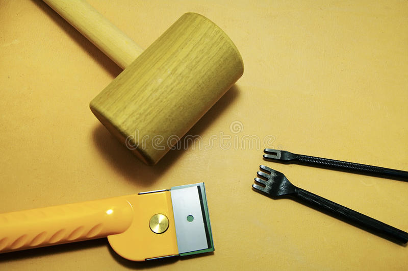 Tools on the leather royalty free stock images