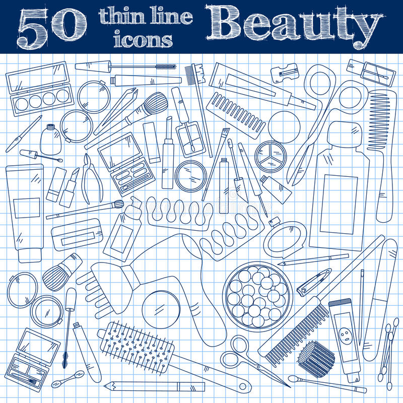 Tools for makeup. Set of 50 cosmetic icons in thin line on noteboook. royalty free illustration