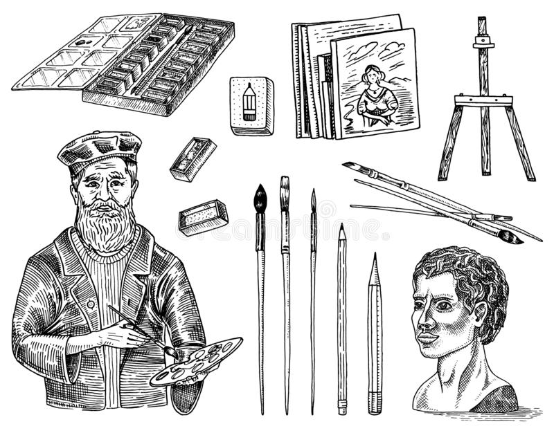 Tools and materials of the artist for drawing in the art salon. Easel, paints, paintings, brushes, pencils. Craft stock illustration