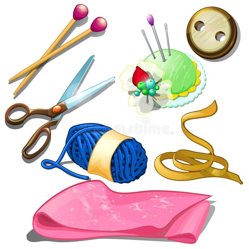Tools and materials for seamstress - needles, scissors, needles, fabric and other stuff for tailor. Seven icons isolated stock illustration
