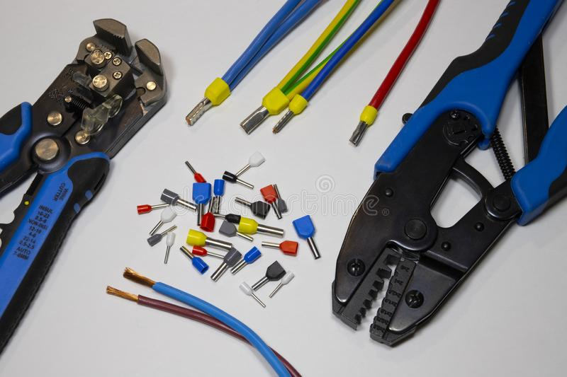 Tools and materials for the electrician stock photography