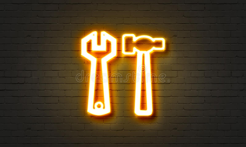 Tools neon sign on brick wall background. stock illustration