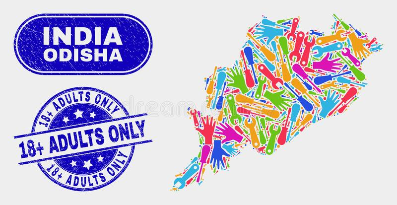 Tools Odisha State Map and Grunge 18 Plus Adults Only Seals vector illustration