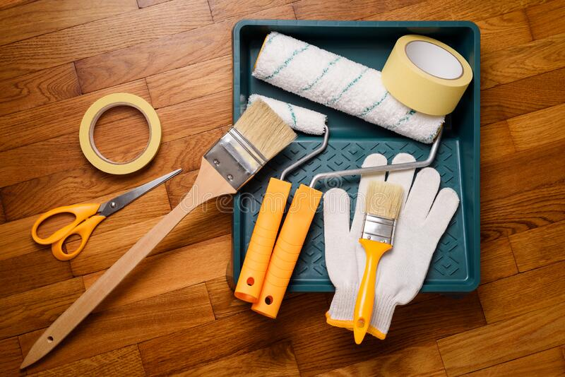 Tools for painting walls stock photos