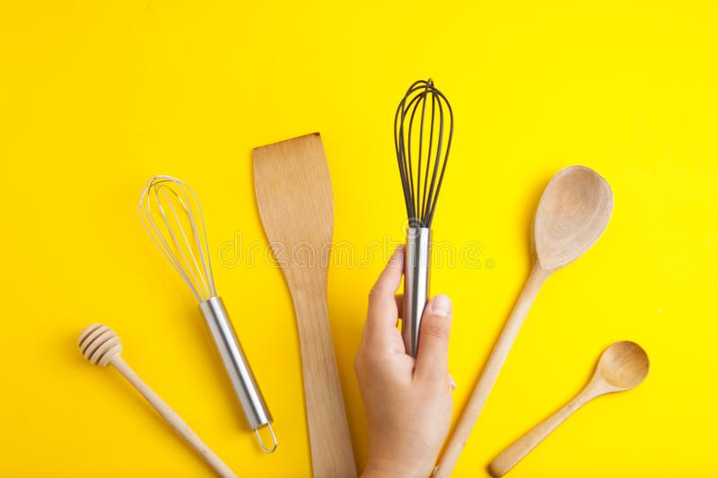 Tools pastry kitchen utensile for cooking dessert, over yellow background with copy space, still life. Top view. Tools pastry kitchen utensile for cooking royalty free stock image