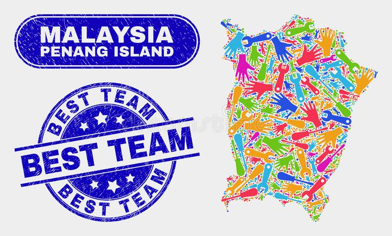 Tools Penang Island Map and Distress Best Team Stamps. Production Penang Island map and blue Best Team textured seal stamp. Colored vector Penang Island map vector illustration