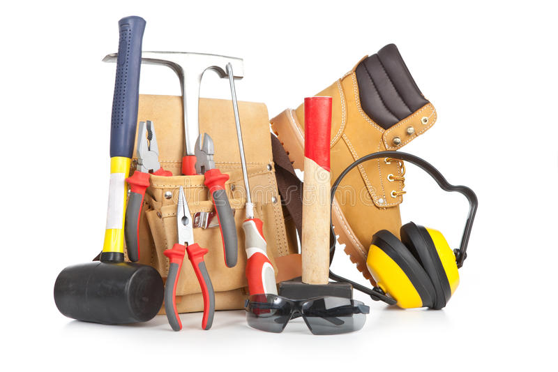 Tools and protective equipment stock image