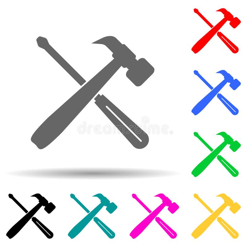 tools for repair multi color style icon. Simple glyph, flat vector of cyber security icons for ui and ux, website or mobile stock illustration