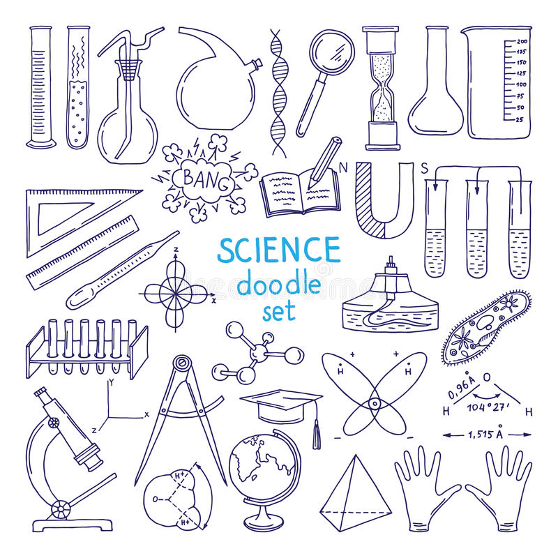 Tools of sciences isolated on white. Technology equipment, biology class. Hand drawn illustrations. Equipment drawing compasses and globe, beaker and flask vector illustration
