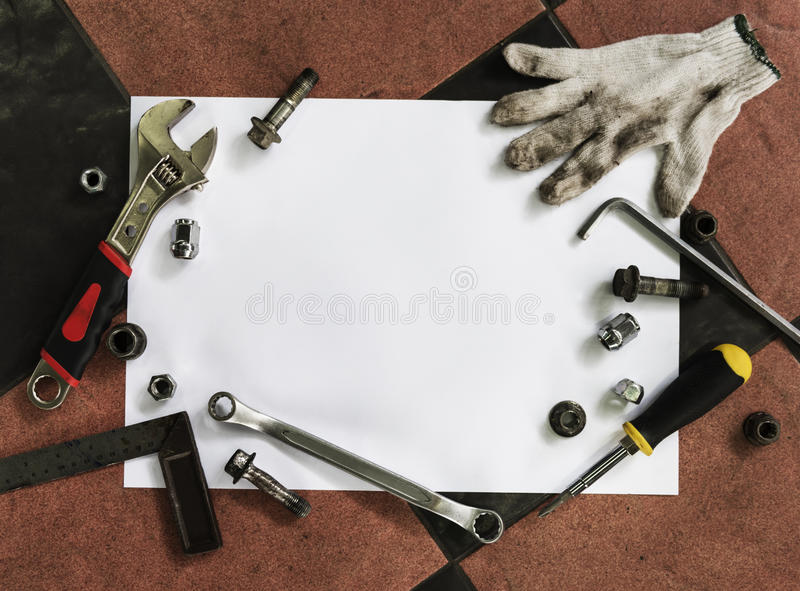 Tools Nails Bolts Mechanical Grease Concept royalty free stock photo