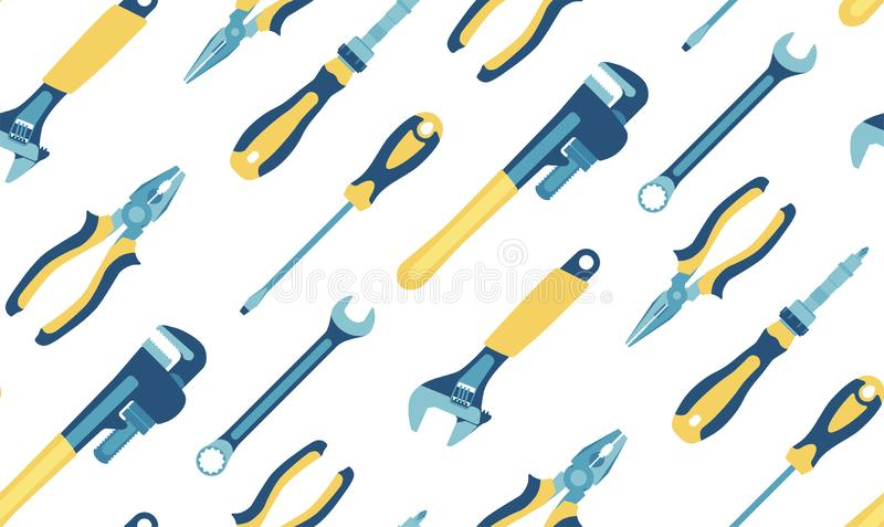 Tools: screwdrivers, pliers, pipe wrenches, spanners. Seamless pattern. Vector. royalty free illustration