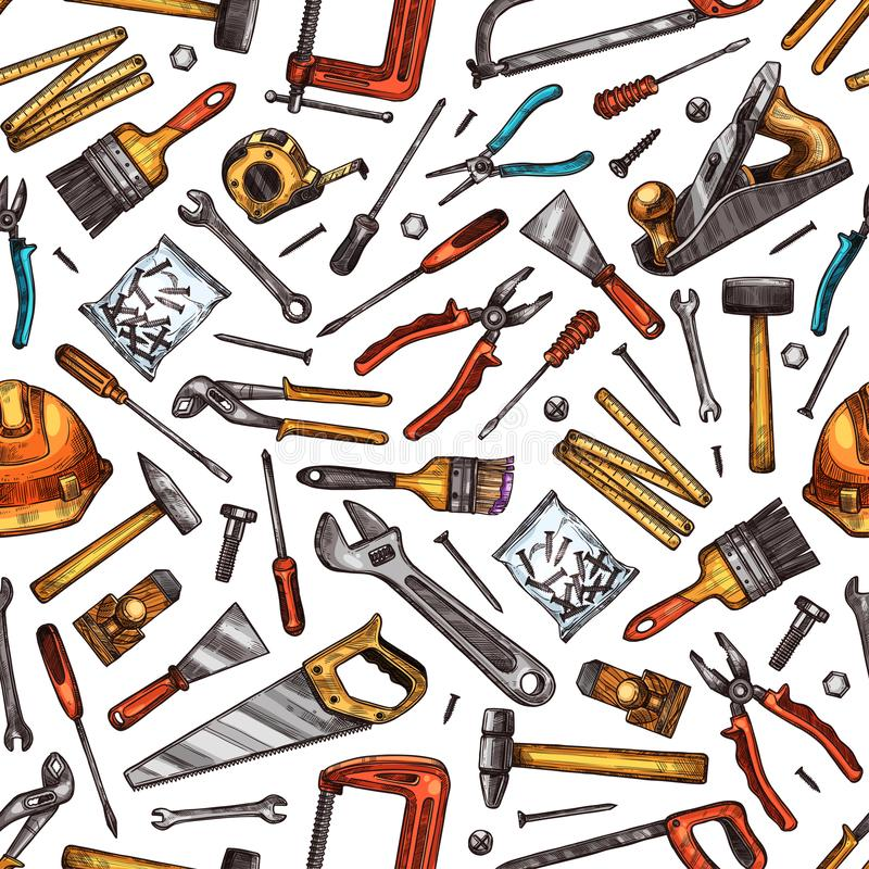 Tools seamless pattern of hammer, screwdriver, saw royalty free illustration
